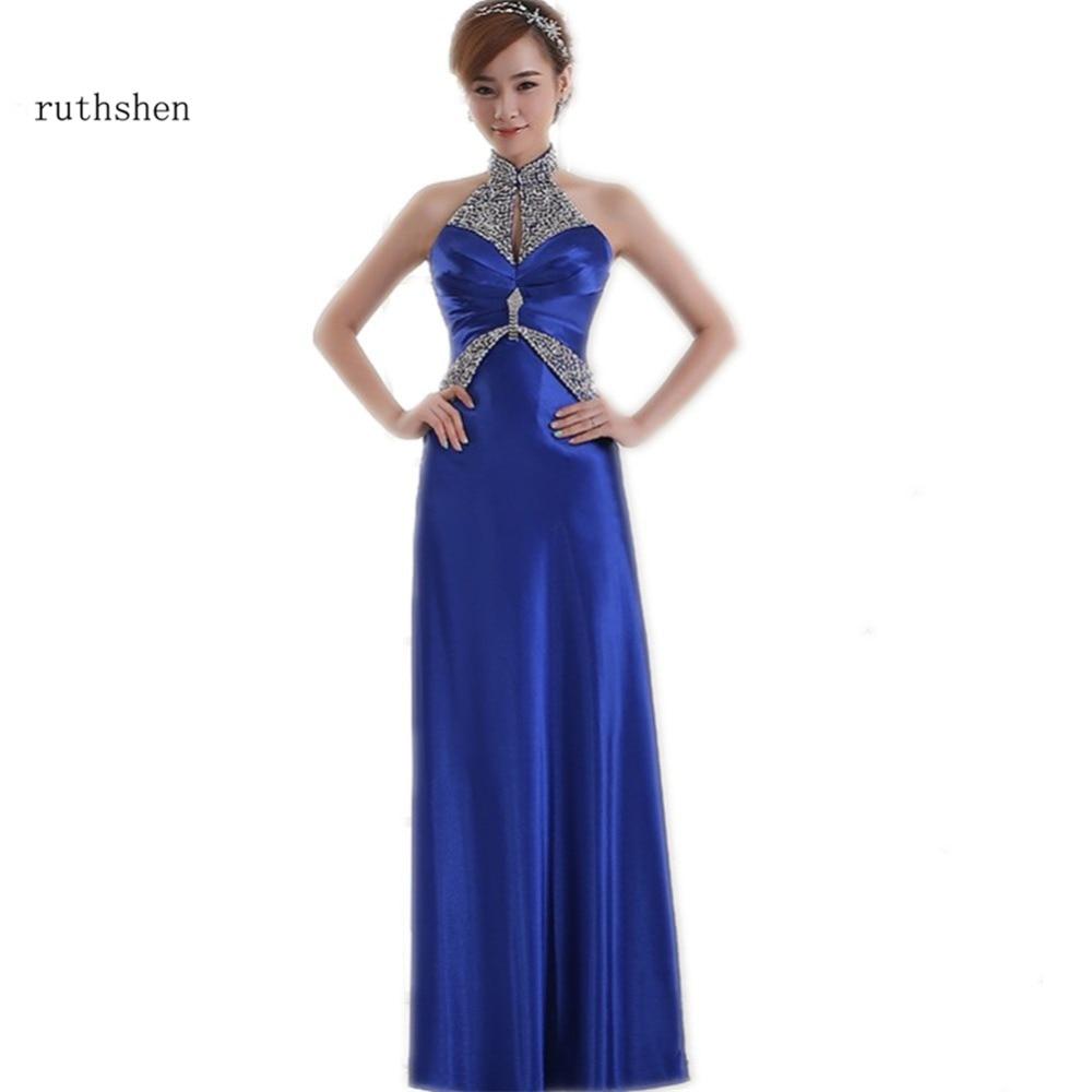 Vestidos De Madrinha Under 50 Blue   Bridesmaid     Dresses   Long High Neck Beaded Pleats Draped Wedding Guest   Dress   Vestido Longo