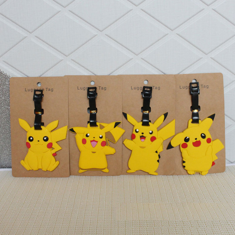 Travel Accessories Luggage Tag Cartoon Silica Gel Pokemon Pikachu Suitcase Baggage Boarding Tags Portable Label etiquette bagage(China)
