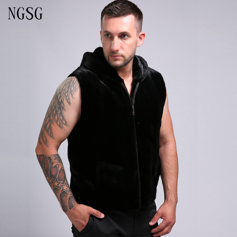 Men's Fur Coat With Hat Black Real 100% Genuine Mink Fur High Grade Zipper Smooth Male Sleeve Coat Luxury Type Formal ER4020 14