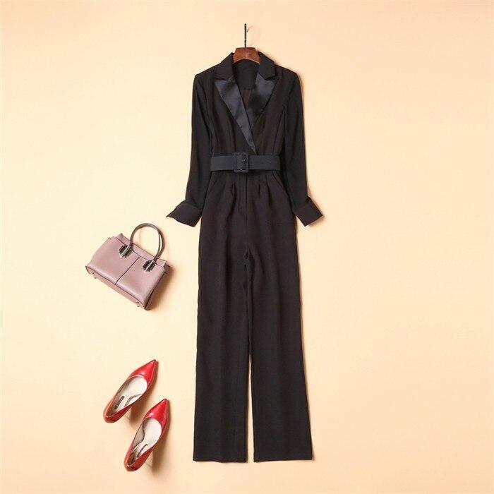 Новинка 2018, элегантные женские комбинезоны, черный комбинезон с длинным рукавом, модные женские повседневные длинные штаны, комбинезоны с к... - 3