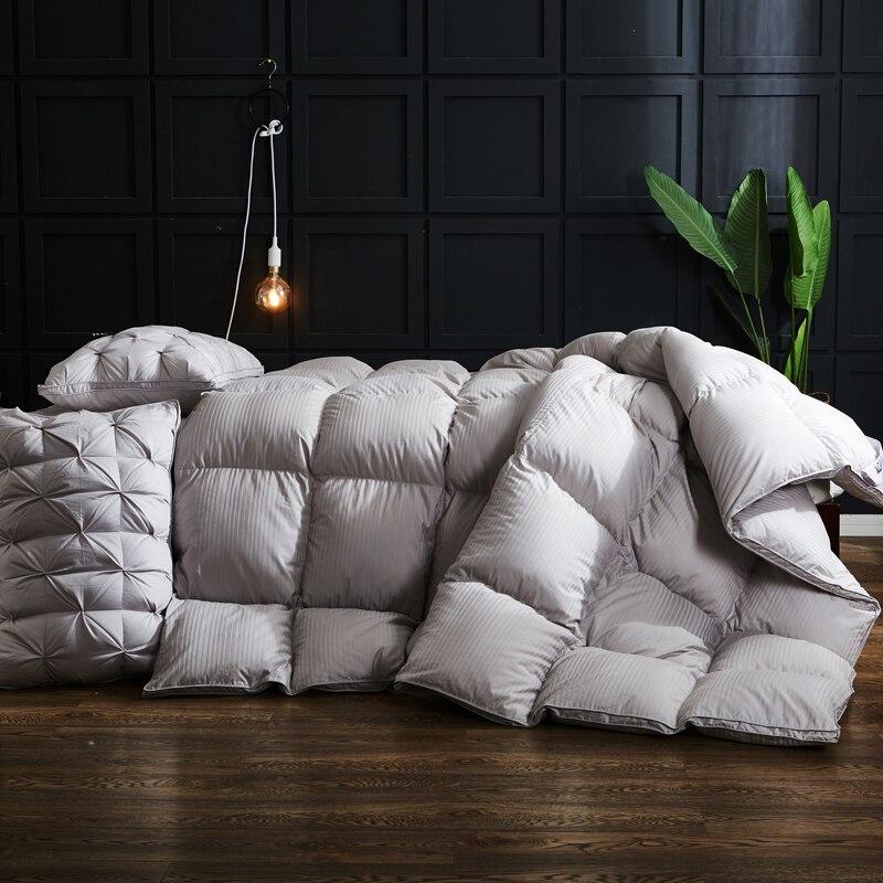 2018 Hotel Simple Stripes Satin Cotton Duvet Winter Comforter Duck Goose Down Filler Queen King Size Quilting Quilt Luxury