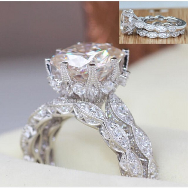 2016 Brand Design Vintage ring Round cut 3ct Simulated diamond Cz 925 Sterling silver Engagement Wedding Band Ring for women