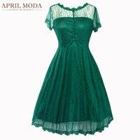 New Arrival Vintage Lace Dress Women Elegant Short Sleeve 50s Retro Robe Femme Rockabilly Swing Wedding