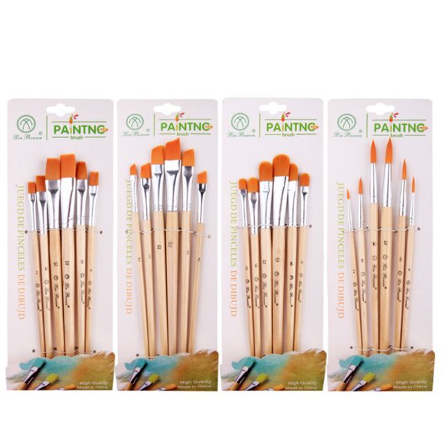 Hilera de pelo de nailon pinceles de pintura al óleo pintura acrílica acuarela pincel fila pluma arte suministros de papelería de artista