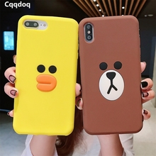 Cqqdoq Cartoon Protective Phone Case For iPhone 5 5s 6 6S 7 8 Plus Soft Silicone Duck Bear Cases X XR XS MAX Coque