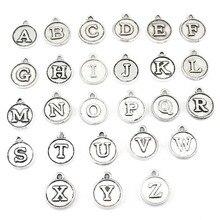 """52pcs-Antique серебряная буква Подвески """"A-Z"""" медальон подвеска, 15x12 мм"""