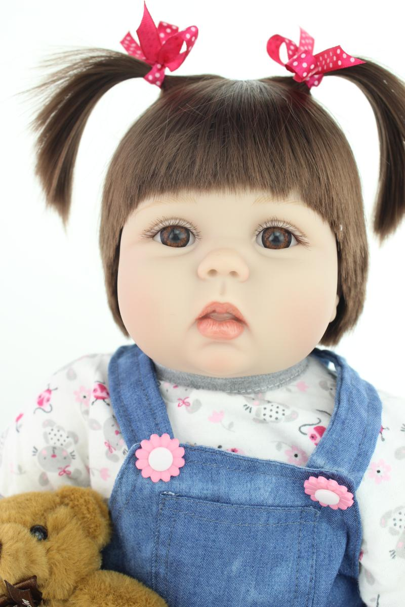 "22"" New arrival rooted brown fiber hair Handmade Silicone adora Lifelike Brinquedos Bonecas Bebe Reborn baby doll for kids gifts"