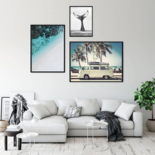 Minimalist Scandinavian Tropical Landscape Posters Modern Prints Sea Beach Bus Wall Art Canvas Painting Nordic Home Decoration