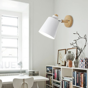 Image 4 - 木製壁灯ベッドサイドウォールランプ壁燭台現代壁ライト寝室用北欧マカロン 6 色ステアリングヘッド E27 85 285V