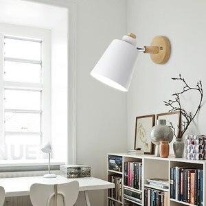 Image 4 - Lámpara de pared de madera para cabecera aplique de pared moderno para dormitorio, nórdico, macarrón, 6 colores, E27 85 285V