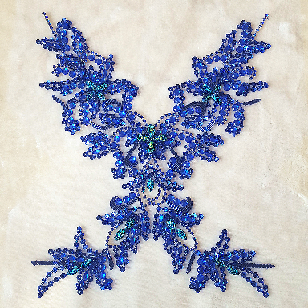 GOddess Blue Royal Beaded Rhinestone Sequin Applique Crystals Patches  29x39cm Sewing Crastal For Wedding Evening Dress Accessory-in Patches from  Home ... 2efe16ea3f2c