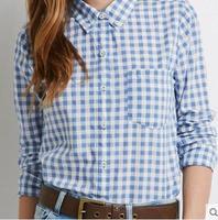 Fashion Spring Autumn Women S Casual Tops Slim Fresh Blue White Plaid Check Long Sleeve Shirt