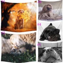 Comwarm Pug Bull Terrier Dog Pattern Tapestry Wall Hanging Gobelin Puppy Beach Picnic Yoga Rug Towel Home Decor Crafts T009