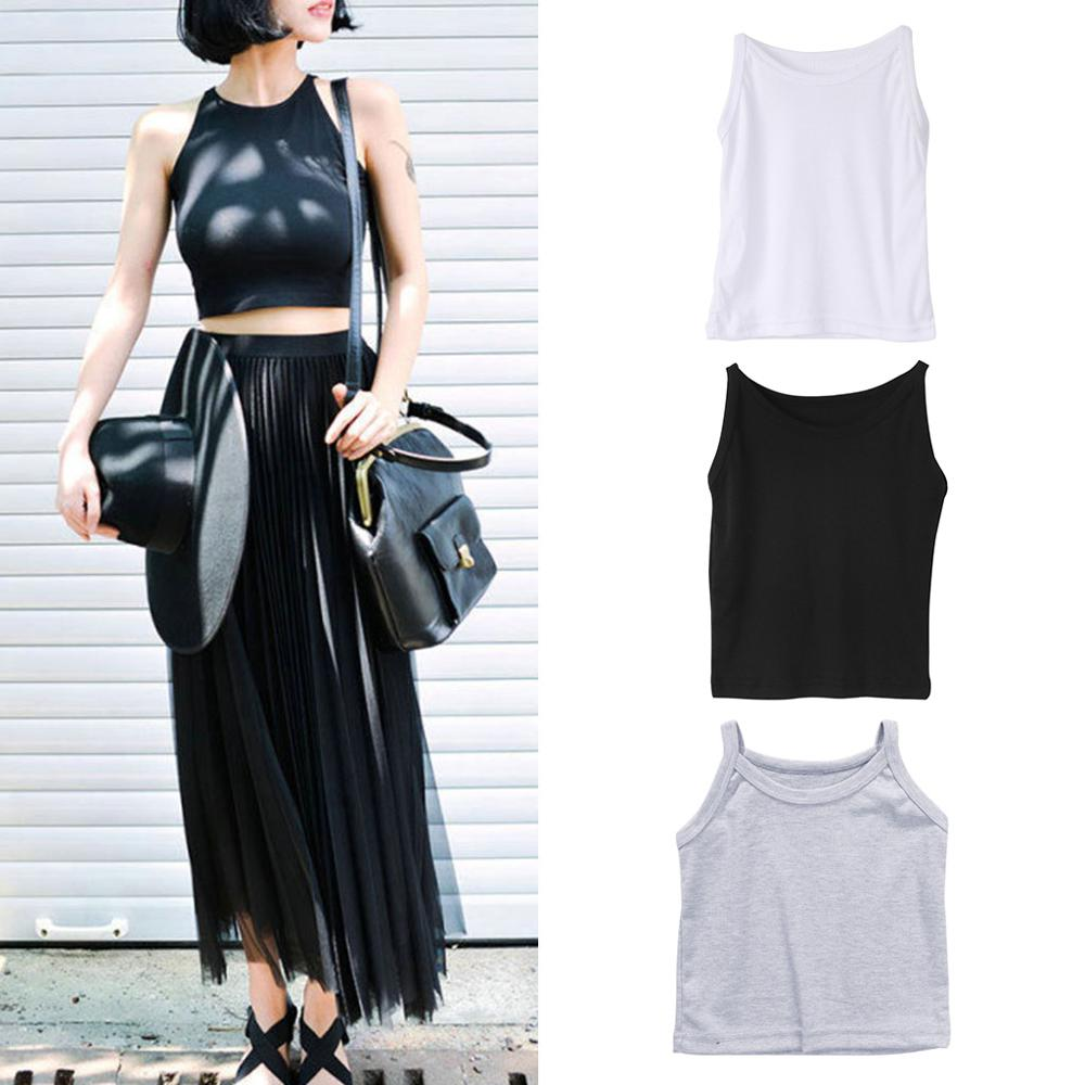 Women Casual Bandage Sleeveless Tank Slim Short Tops Solid Bodycon Summer Blouse