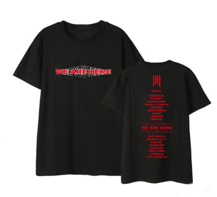 Kpop monsta x estamos aqui world tour cidade nomes impressão o pescoço camisa t unissex moda verão de manga curta t-shirt