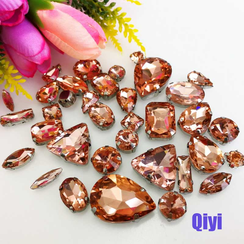Sell at a loss 50pcs bag high quality mixed shape water red glass sew on claw rhinestones diy clothing accessories SWM12 in Rhinestones from Home Garden