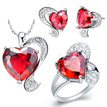 NEW white gold set 925 Sterling Silver suit Ruby Necklace half jewel love