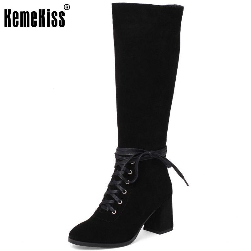 Фотография KemeKiss Women Genuine Leather Half Short Boots Zipper High Heel Boots Lace Winter Shoes Short Botas Women Footwears Size 33-40