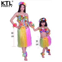 KTLPARTY Women and girls rianbow color hula skirt set Mother/60cm + daughter/30 Hawaiian Grass skirt costumes set