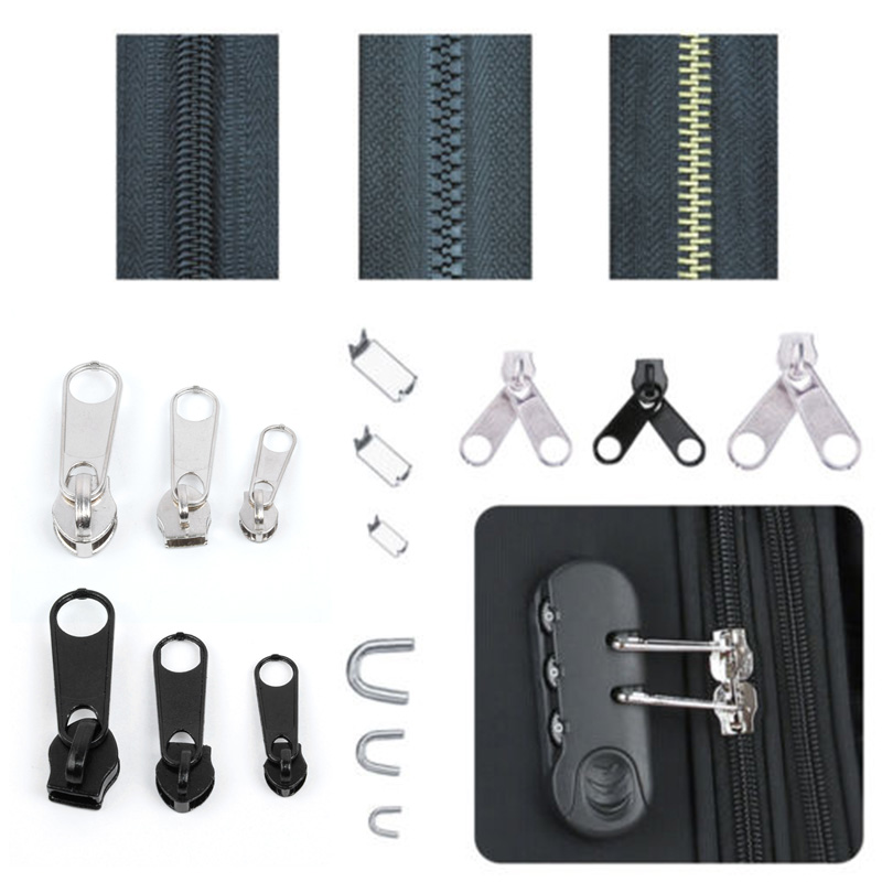 84pcs Metal Zip Head Accessories Tool Universal Zipper Repair Replacement Kit For The Repairing Of Clothing, Bags,outdoor Tents