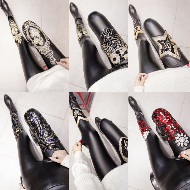 2017 Winter Women Slim PU Skinny Sequined   Leggings   Trousers Female Faux Leather Warm Thick Pencil Pants   Leggings   Bottoms