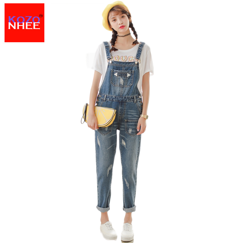 Moustache Effect Ripped denim overalls female With High Waist jeans boyfriends For Women Overalls torn jeans overalls female