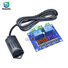 DC 12V Digital Display Dual Output Thermostat LED Temperature Humidity Controller Module Relay Thermometer Hygrometer M452 wsk303 frame size 96 96mm led digital display temperature and humidity controller