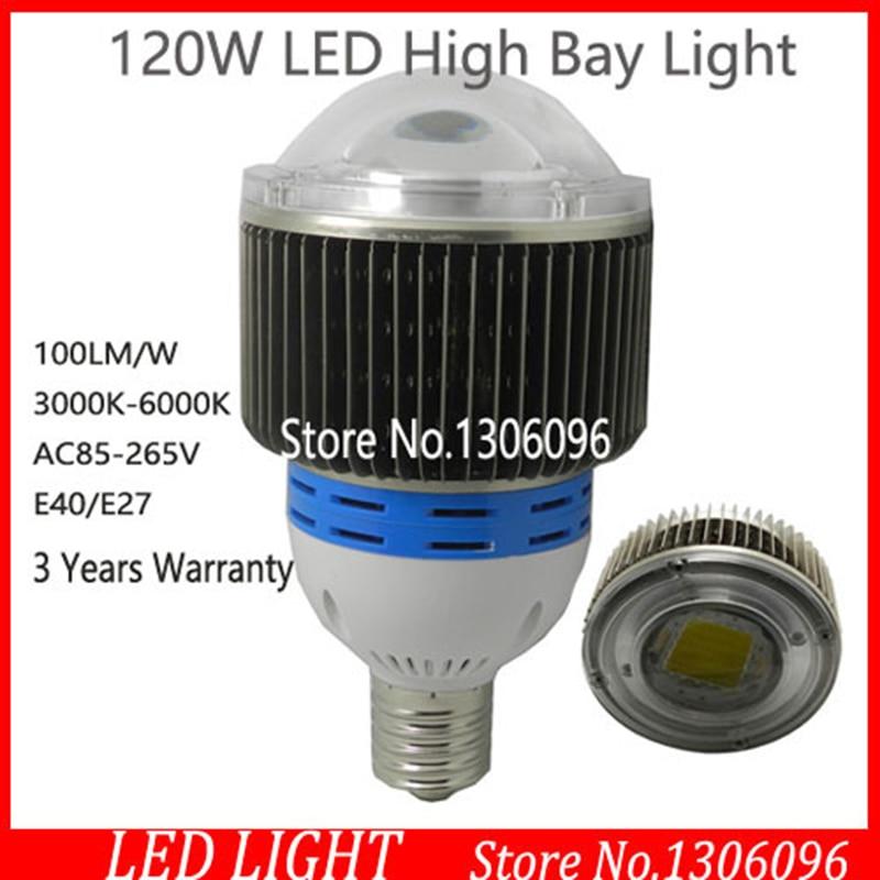 3pcs/lot iudustrial led high bay lighting AC100-285V 12500lm 120W led high bay light / led high power bulb lamp E40 E27 base led lamp high bay light bulb e40 40w 50w
