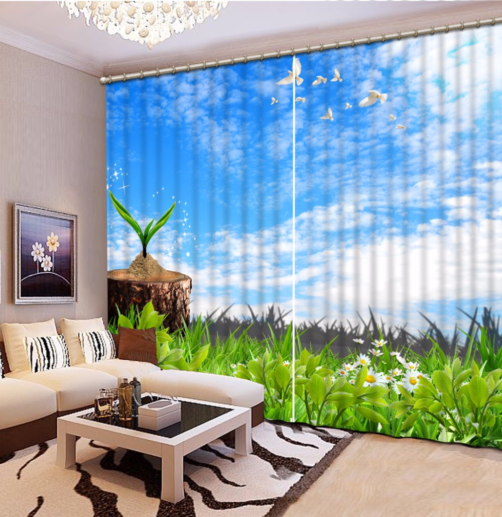 Blue curtain living room - Customize Living Room Curtains Blue Sky White Clouds Green Grass 3d Stereoscopic Pattern Blackout Curtains
