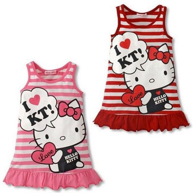 Mode kinder baby mädchen cartoon kawaii hello kitty kleid rot rosa ...