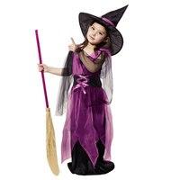 Halloween Trang Phục Cô Gái Đen Fly Trang Phục Phù Thủy Áo và Hat Cap Party Cosplay Quần Áo cho Trẻ Em Gái Trẻ Em