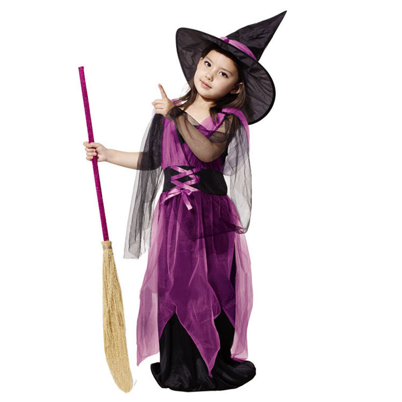 Umorden Halloween Kostumer Pige Sort Fly Heks Kostume Kjole og Hat Cap Party Cosplay Tøj til Kids Girl Children