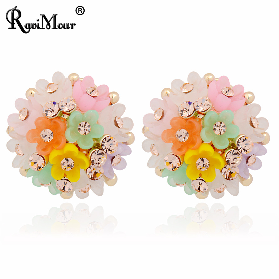 Ravimour Big Brincos Resin Flower Stud Earrings For Women Fashion Jewelry  Pendientes Fashion Boucle D'
