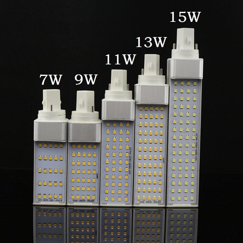 Lampada E27 G24 G23 7 W 9 W 11 W 13 W 15 W 110 V 220 V 240 V Horizontal Plug lampe SMD2835 Bombillas LED PL Ampoule de Maïs Spot light Éclairage