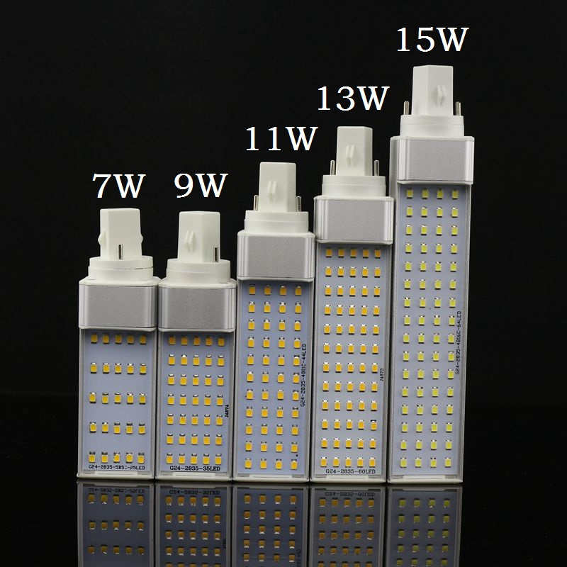 Lampada E27 G24 G23 7W 9W 11W 13W 15W 110V 220V 240V Horizontal Plug lamp SMD2835 Bombillas LED PL Corn Bulb Spot light Lighting free shipping 30 pcs g24 g23 e27 12w smd 5050 60 led pl corn bulb led plc droplight 930lm led transverse inserted light