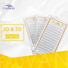 2 Box / Lot 3D / 5D Individu Bulu Mata Campuran Ekstensi Bulu Mata Palsu Alat Individu Bulu Mata Faux Mink Sutra Mata Lash Alat FADVAN