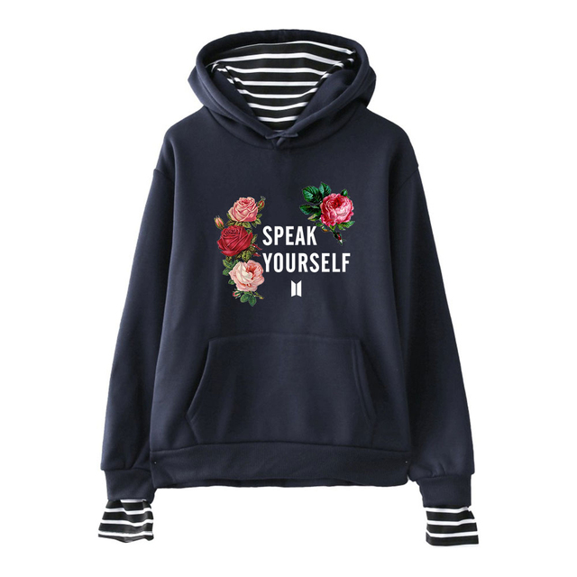 BTS SPEAK YOURSELF STRIPED HOODIE (