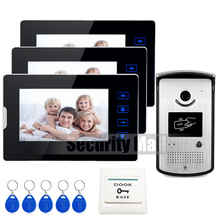 Home Wired 7″ Touch Screen Video Door Phone Intercom System + 3 Monitors + Waterproof RFID Access Camera In Stock FREE
