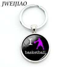 JWEIJIAO New I Love Basketball Keychain Top Fashion Casual Sports Basketball Player Women Men Key Chain Ring Charm Jewelry SP451