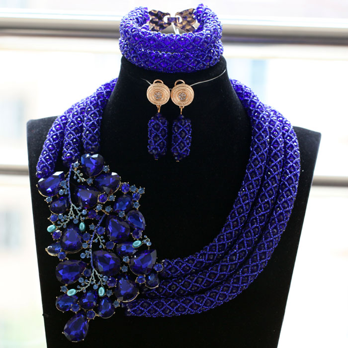 Royal Blue Nigerian Wedding Costume Jewelry Set Latest Design Mixed African Beads Party Wedding Jewelry Set Free Shipping ABH494 classic royal blue african costume beaded jewelry set handmade 3 layers nigerian beads wedding jewellry set free shipping 10057