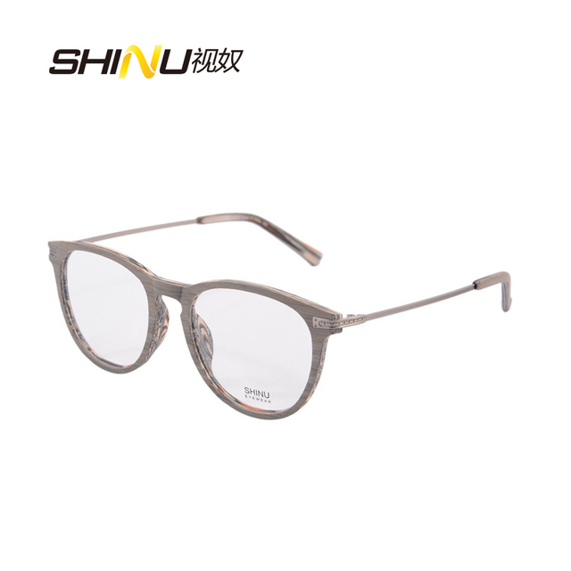 12769ae77ea6b imitation wood-grain eyeglases frame women vintage round glasses frame full  rim with box case