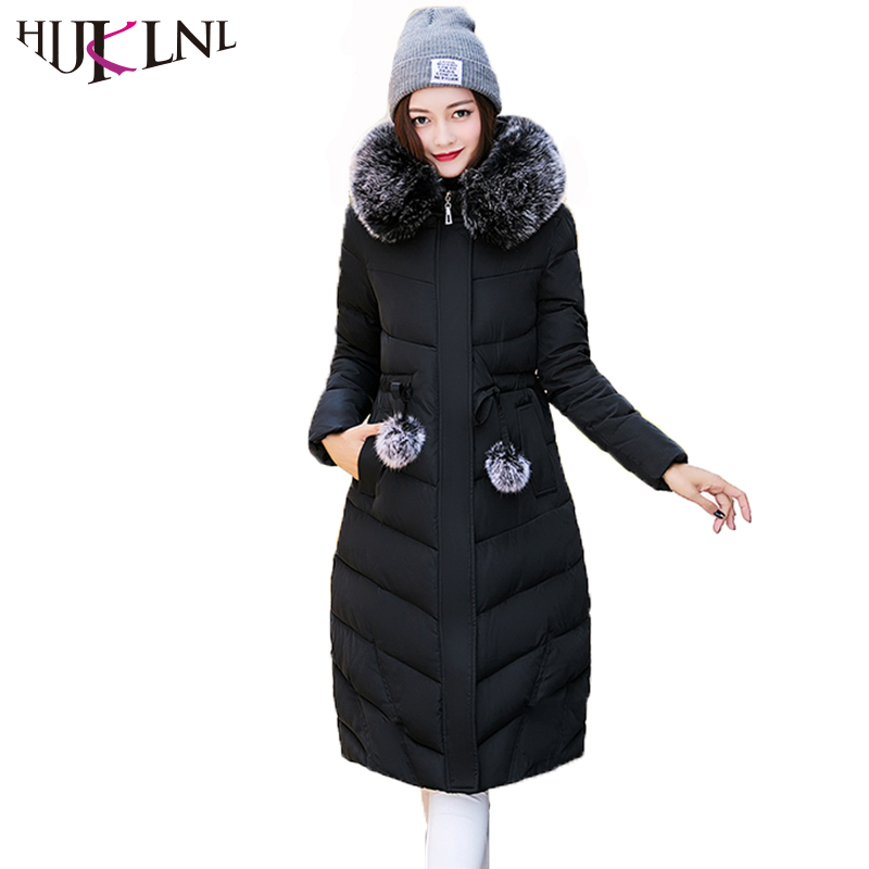 HIJKLNL Women Long Jacket 2017 Warm Thick Hooded Fur Collar Winter Coat and Jacket Slim Cotton Padded Overcoat Parka Mujer NA428 thick cotton padded jacket fur collar hooded long section down cotton coat women winter fashion warm parka overcoat tt215