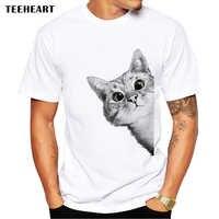 TEEHEART трусливый кот Мужская футболка Милая футболка с принтом кота короткий рукав Повседневные базовые Топы крутые футболки LA646