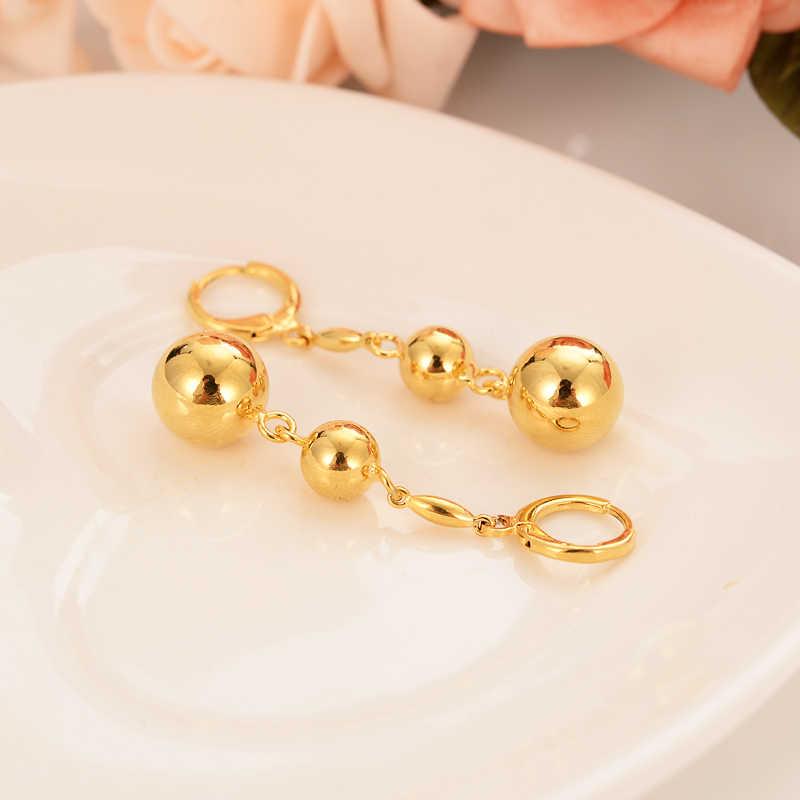 Złoty piękny serce koraliki spadek kolczyki Dangle kolczyki Charms złota biżuteria brincos w stylu Vintage dziewczyny boże narodzenie matka dla dzieci prezent dla dzieci