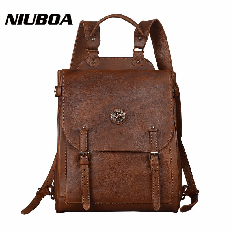NIUBOA Backpack Man Genuine Leather Bag Vintage 15 Laptop Bag Cow Leather Munual Backpack Mochila Feminina Teenager Travel Pack cow leather man backpack 100