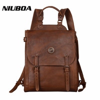 NIUBOA Backpack Man Genuine Leather Bag Vintage 15 Laptop Bag Cow Leather Munual Backpack Mochila Feminina Teenager Travel Pack