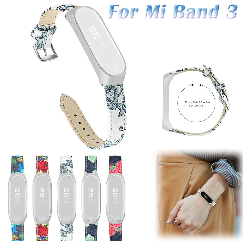 New Leather Strap Stainless Steel Frame Wristband for Xiaomi 3 4 Watch Bands Bracelet + Metal Case Cover for Xiaomi Mi Band 3/4