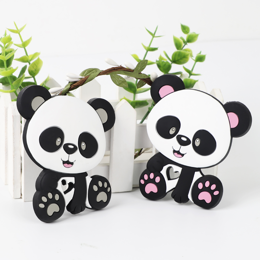 TYRY.HU 1pc Silicone Teethers Cartoon Panda Shape Food Grade Baby Teething Beads DIY Pacifier Chain Necklaces For Baby Products