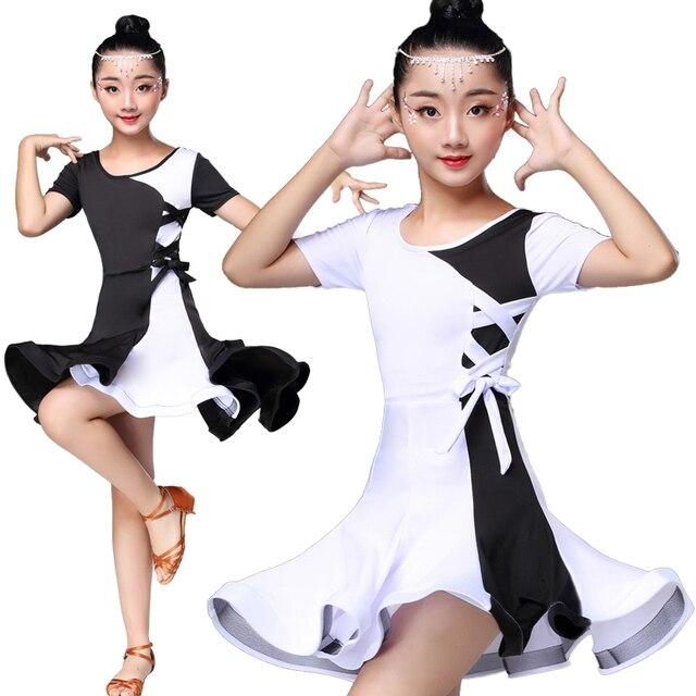 白黒ラテンダンスの競技会ドレスラテンダンスのドレス子供ラテンダンス衣装子供