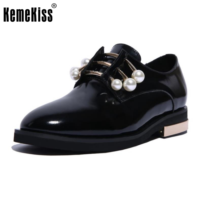 Female Real Leather Flats Shoes Women Round Toe Patent Leather Flat Metal Pearl Comfortable Office Lady Footwears Size 34-39 baiclothing women casual pointed toe flat shoes lady cool spring pu leather flats female white office shoes sapatos femininos
